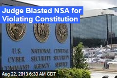 Judge Blasted NSA for Illegal Email Snooping