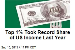 Top 1% Took Record Share of US Income Last Year