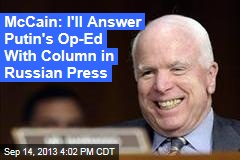 McCain: I'll Answer Putin's Op-Ed With Column in Russian Press