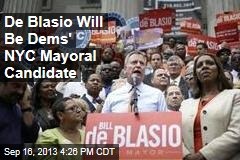 De Blasio Will Be Dem's NYC Mayoral Candidate