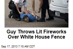 Guy Throws Lit Fireworks Over White House Fence