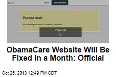 ObamaCare Website Will Be Fixed in a Month: Official