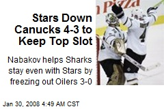 Stars Down Canucks 4-3 to Keep Top Slot