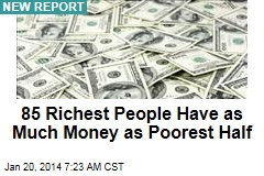 85 Richest People Have as Much Money as Poorest Half