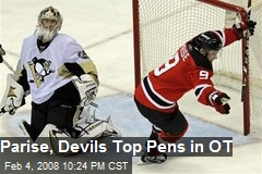 Parise, Devils Top Pens in OT