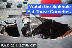 See Moment the Sinkhole Ate 'Vettes
