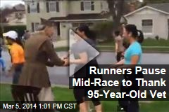 Runners Pause Mid-Race to Thank 95-Year-Old Vet