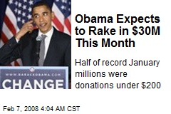Obama Expects to Rake in $30M This Month