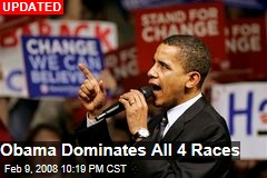 Obama Dominates All 4 Races