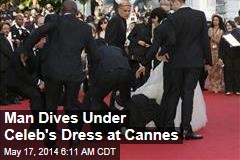 Man Dives Under Celeb's Dress on Cannes Red Carpet