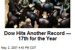 Dow Hits Another Record —17th for the Year