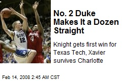 No. 2 Duke Makes It a Dozen Straight