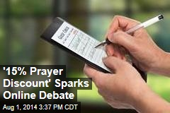 '15% Prayer Discount' Sparks Online Debate