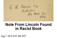 Note From Lincoln Found in Racist Book