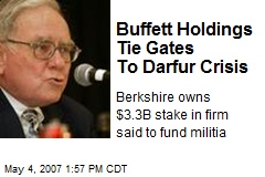 Buffett Holdings Tie Gates To Darfur Crisis