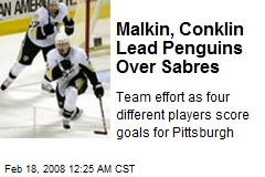 Malkin, Conklin Lead Penguins Over Sabres