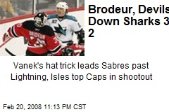 Brodeur, Devils Down Sharks 3-2