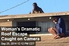Woman's Dramatic Roof Escape Caught on Camera