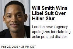 Will Smith Wins Libel Suit Over Hitler Slur