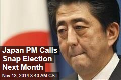 Japan PM Calls Snap Election Next Month