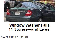 Window Washer Plunges Onto Moving Car