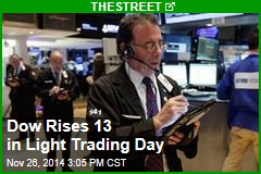 Dow Rises 13 in Light Trading Day