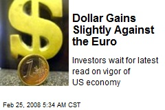 Dollar Gains Slightly Against the Euro