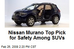 Nissan Murano Top Pick for Safety Among SUVs