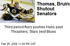 Thomas, Bruins Shutout Senators