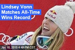 Lindsey Vonn Matches All-Time Wins Record