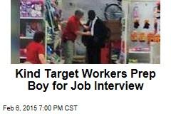 Kind Target Worker Preps Boy for Interview