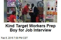 Kind Target Worker Preps Boy for Interview