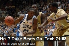 No. 7 Duke Beats Ga. Tech 71-58