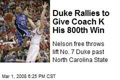 Duke Rallies to Give Coach K His 800th Win