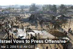 Israel Vows to Press Offensive