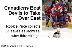 Canadiens Beat Devils to Take Over East