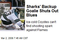 Sharks' Backup Goalie Shuts Out Blues