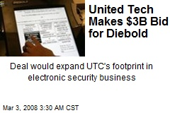 United Tech Makes $3B Bid for Diebold