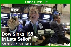 Dow Sinks 195 in Late Selloff
