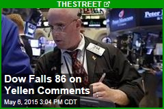 Dow Falls 86 on Yellen Comments
