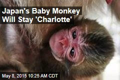 Japan's Baby Monkey Will Stay 'Charlotte'