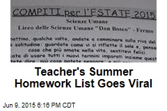 Teacher's Summer Homework List Goes Viral
