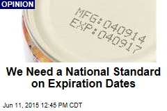We Need a National Standard on Expiration Dates