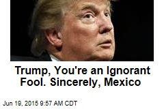 Trump, You're an Ignorant Fool. Sincerely, Mexico