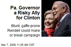 Pa. Governor a Risky Ally for Clinton