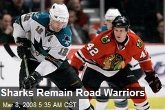 Sharks Remain Road Warriors