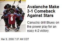 Avalanche Make 3-1 Comeback Against Stars