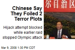 Chinese Say They Foiled 2 Terror Plots