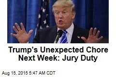 Trump's Unexpected Chore Next Week: Jury Duty