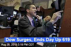Dow Surges, Ends Day Up 619